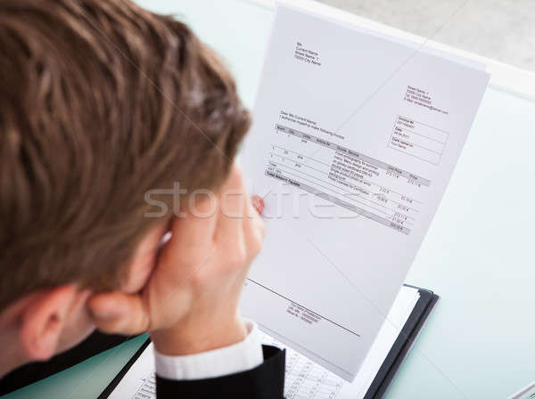 Foto stock: Empresário · papel · retrato · homem · de · negócios