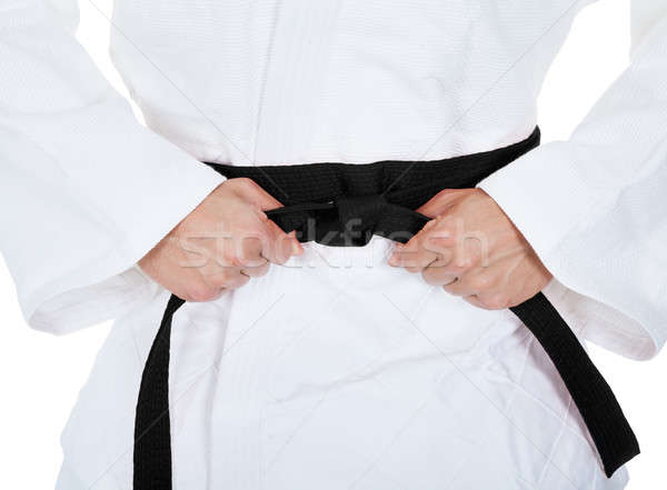 Genç karate kimono beyaz adam Stok fotoğraf © AndreyPopov
