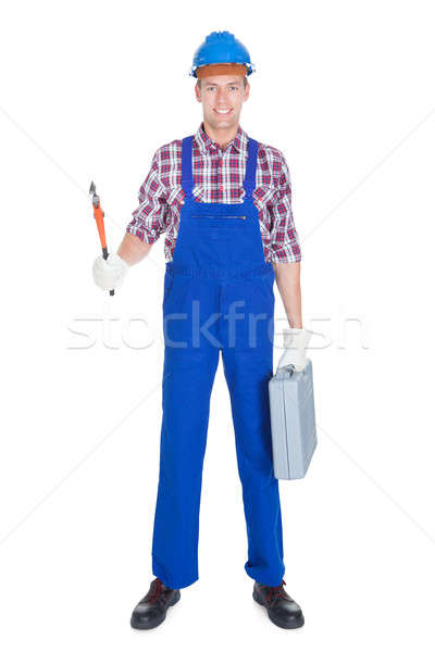 Retrato jóvenes masculina trabajador aislado blanco Foto stock © AndreyPopov