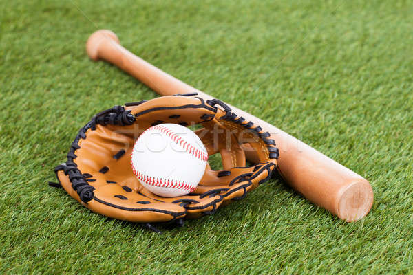 Leather Glove With Baseball And Bat Stock photo © AndreyPopov