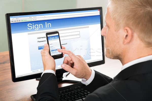 ビジネスマン 署名 アカウント クローズアップ オフィス ストックフォト © AndreyPopov