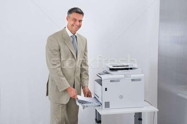üzletember nyomtató iroda portré férfi technológia Stock fotó © AndreyPopov