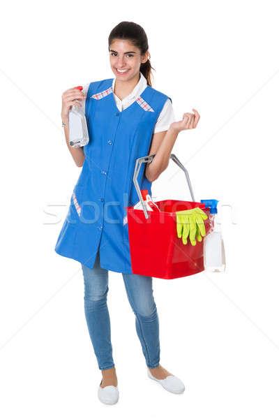Heureux Homme travailleur seau nettoyage Photo stock © AndreyPopov