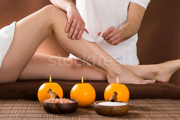 Woman Getting Her Leg Waxed Stock photo © AndreyPopov