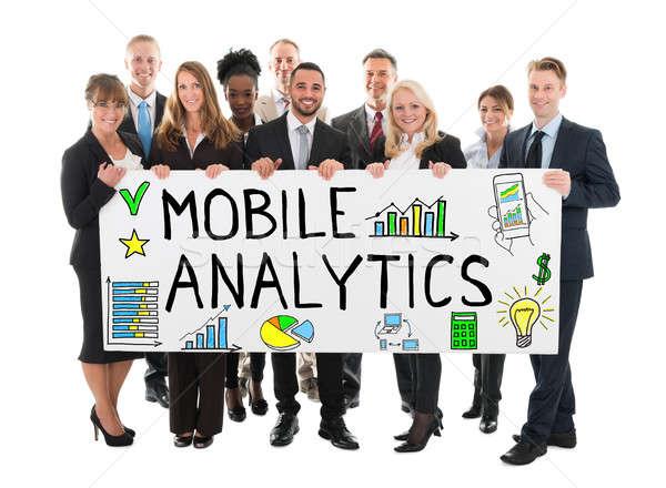 Gens d'affaires bannière mobiles analytique grand groupe Photo stock © AndreyPopov