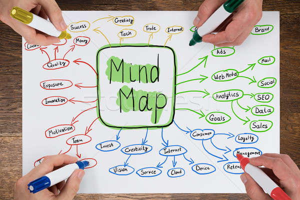 Stock photo: Businesspeople Drawing Mind Map Concept On Paper