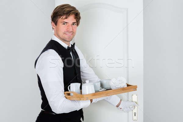 счастливым молодые официант кофе набор Сток-фото © AndreyPopov