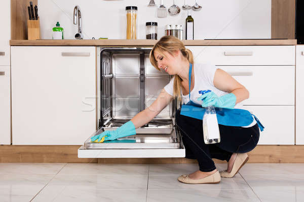 Woman Cleaning Dishwasher In Kitchen Stock photo © AndreyPopov