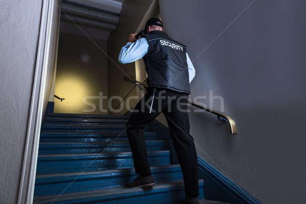 Erkek güvenlik subay el feneri Stok fotoğraf © AndreyPopov