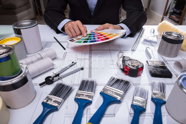 Architect's Hand Choosing Color From Swatch Stock photo © AndreyPopov