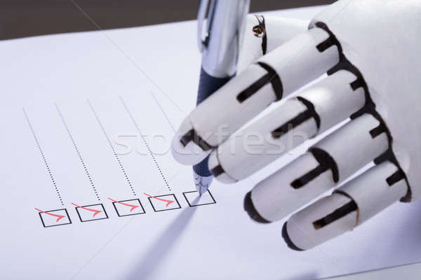 Robot Ticking Off Checkboxes On Document Stock photo © AndreyPopov
