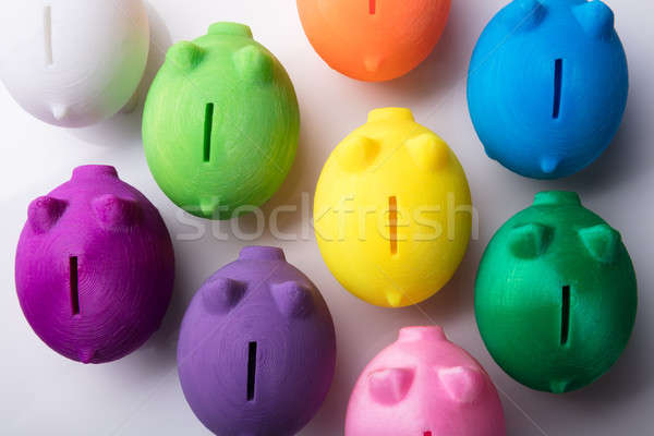 Elevated View Of Multi Colored Piggybanks Stock photo © AndreyPopov