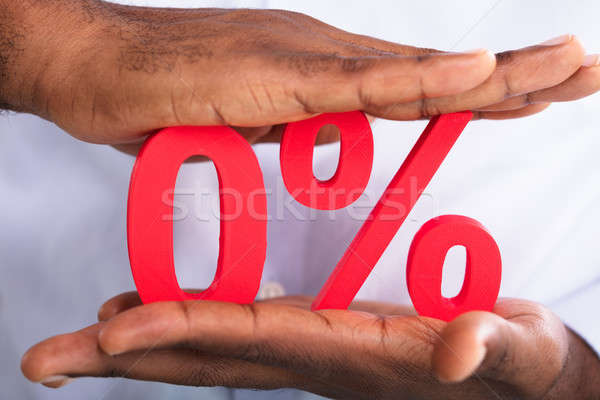 Hands Holding Zero Percentage Symbol Stock photo © AndreyPopov