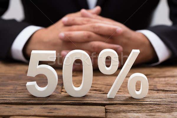 Weiß fünfzig Prozentsatz Symbol Holz Stock foto © AndreyPopov