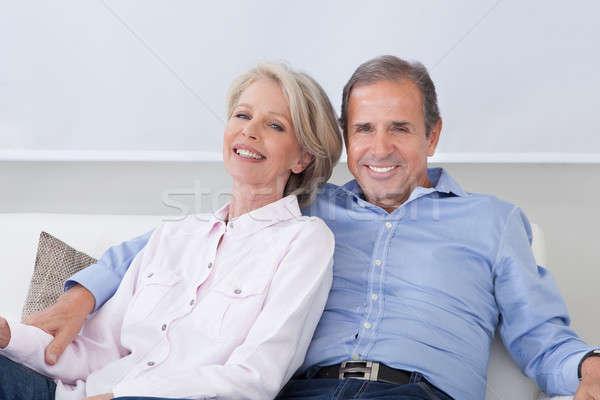Stockfoto: Portret · volwassen · paar · gelukkig · vergadering · kant