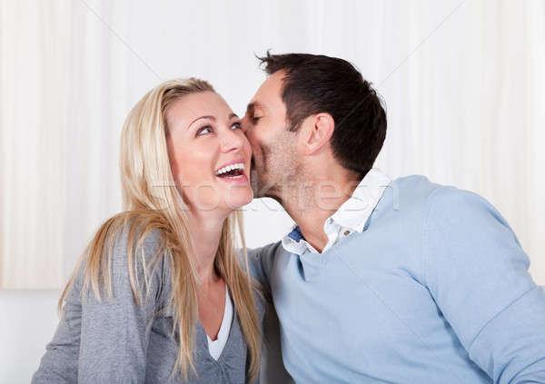 человека женщину разделение тайну смеясь уха Сток-фото © AndreyPopov