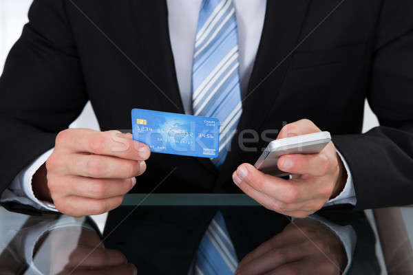 Businessman doing online banking Stock photo © AndreyPopov