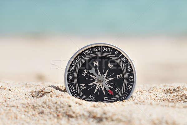 Bússola areia foto preto negócio Foto stock © AndreyPopov