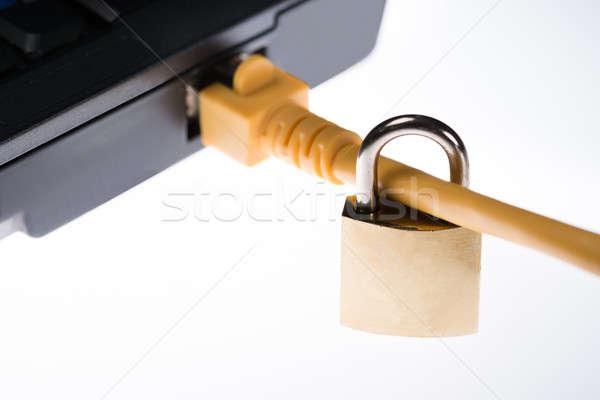 Stock fotó: Lakat · csatolva · dugó · laptop · közelkép · izolált