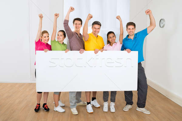 Group Of Multiethnic People Holding Blank Placard Stock photo © AndreyPopov