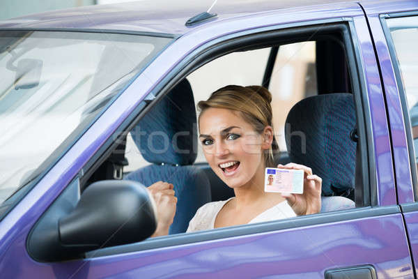 женщину лицензия сидят автомобилей портрет Сток-фото © AndreyPopov