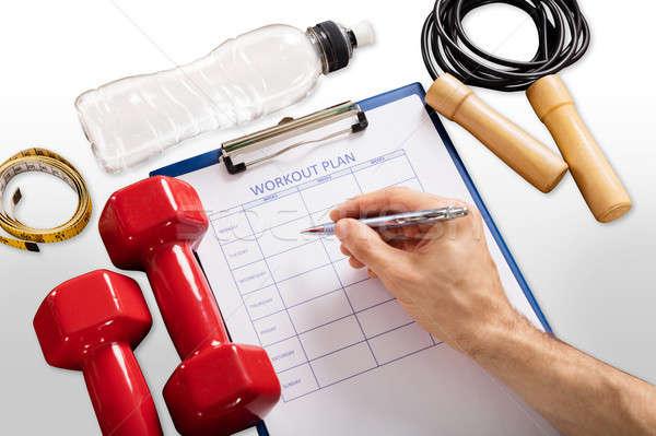 Personnes main remplissage entraînement plan forme Photo stock © AndreyPopov