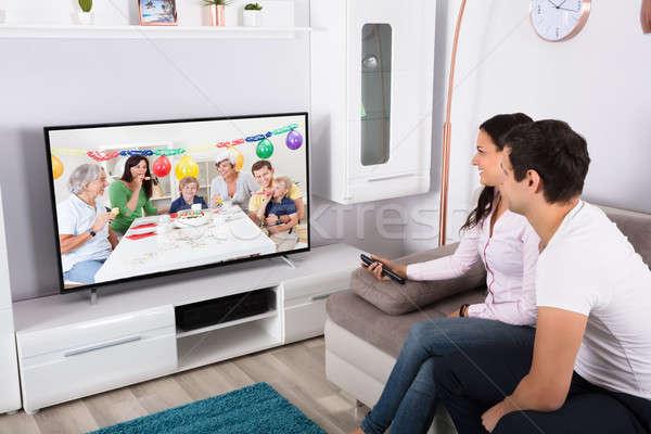 пару смотрят рождения празднования телевидение Сток-фото © AndreyPopov