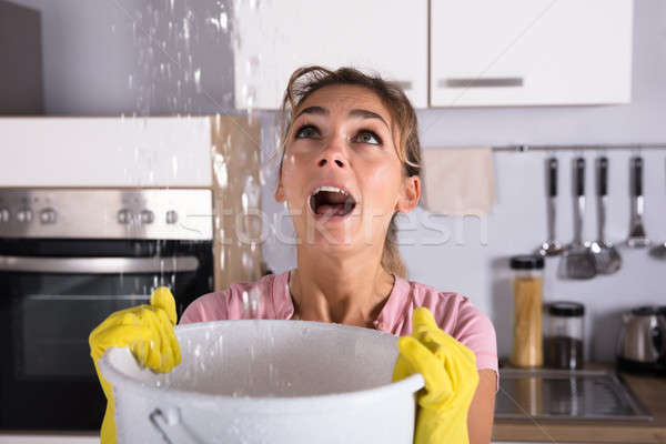 Woman Holding A Bucket While Water Droplets Leak From Ceiling Stock photo © AndreyPopov