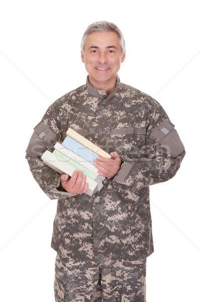зрелый солдата книгах изолированный Сток-фото © AndreyPopov