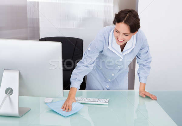 Female Worker Cleaning Office Stock photo © AndreyPopov