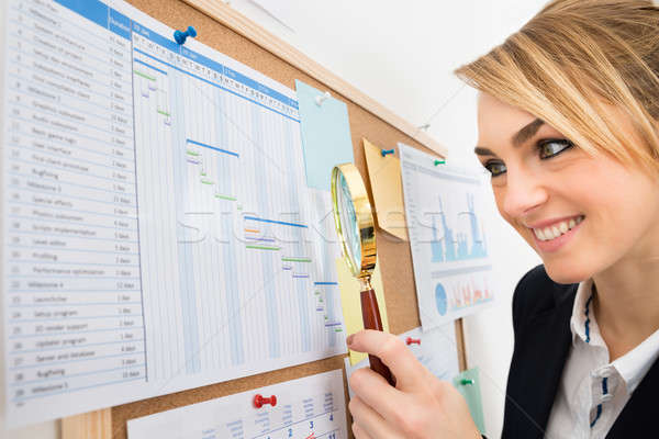 Businesswoman Examining Gantt Chart With Magnifying Glass Stock photo © AndreyPopov