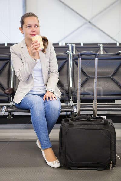 Businesswoman Having Coffee At Airport Lobby Stock photo © AndreyPopov