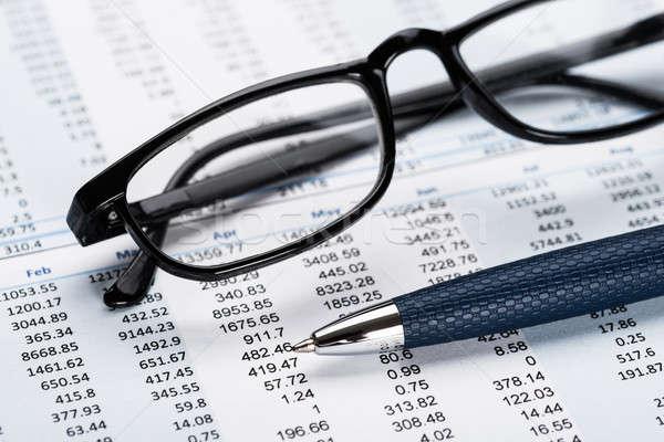 View Of Data Sheet From Eyeglasses Stock photo © AndreyPopov