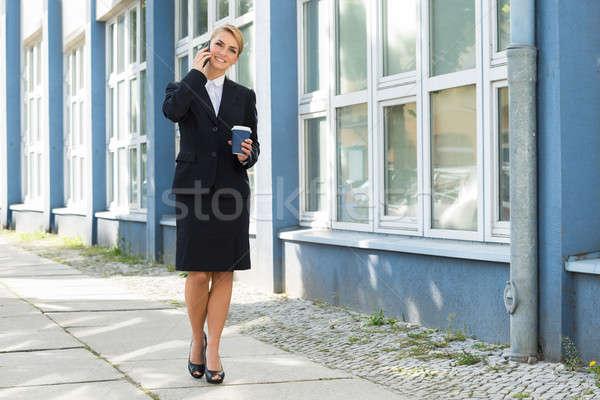 女性実業家 携帯電話 昼休み 笑みを浮かべて 小さな ストックフォト © AndreyPopov