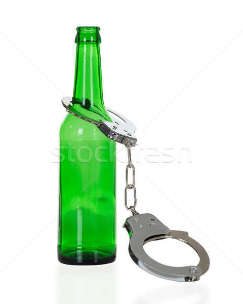 Bilincs zöld sörösüveg izolált fehér sör Stock fotó © AndreyPopov