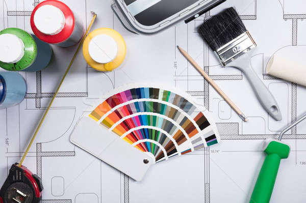 Color Guide Swatch On Blueprints Stock photo © AndreyPopov
