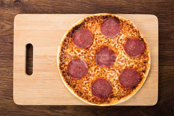Görmek ev yapımı pizza salam lezzetli klasik Stok fotoğraf © AndreyPopov