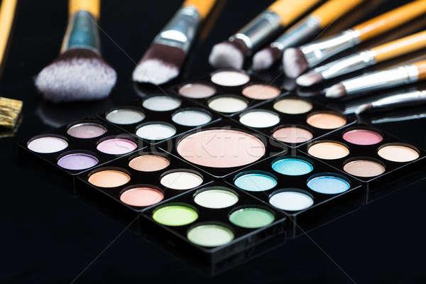 Eye Shadow Palette With Make-up Brush Stock photo © AndreyPopov