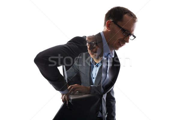 Podwoić ekspozycja biznesmen ból w krzyżu pracy komputera Zdjęcia stock © AndreyPopov