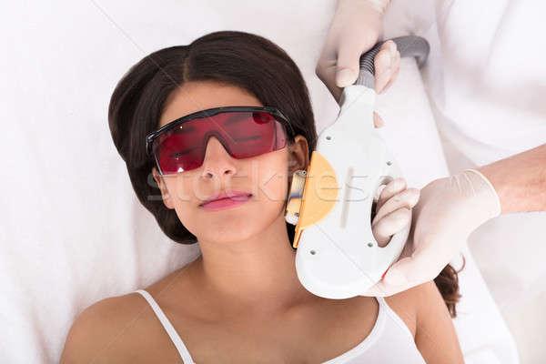 Stockfoto: Laser · behandeling · kin · jonge · vrouw · wang