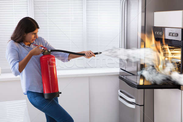 Woman Using Fire Extinguisher To Put Out Fire From Oven Stock photo © AndreyPopov