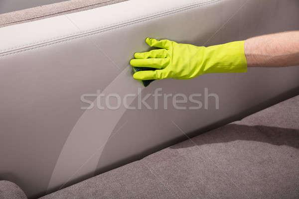 Személy takarítás kanapé szivacs közelkép személyek Stock fotó © AndreyPopov