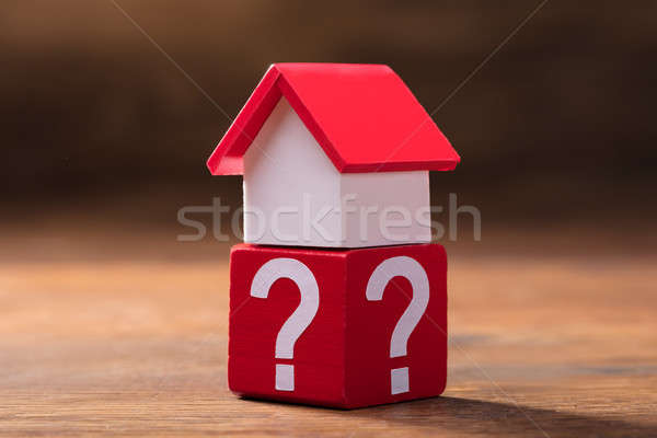 House Model On Red Block With Question Mark Symbols Stock photo © AndreyPopov