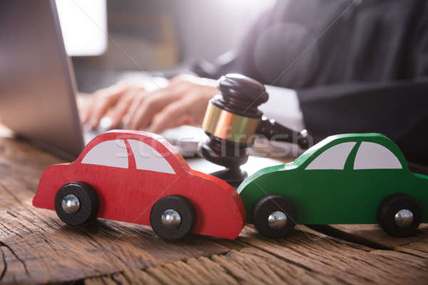 Close-up Of Two Green And Red Wooden Cars Stock photo © AndreyPopov
