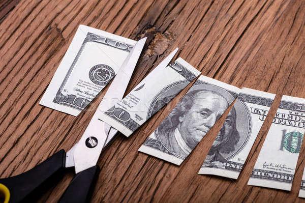 Dollár bankjegy fa asztal üzlet pénz asztal Stock fotó © AndreyPopov
