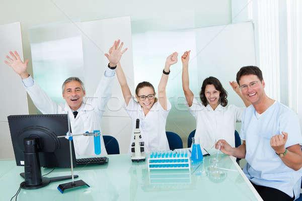 Stockfoto: Laboratorium · medische · vergadering · rond · lab · bank