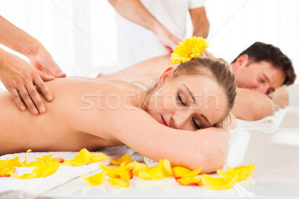 Attractive couple having a massage Stock photo © AndreyPopov