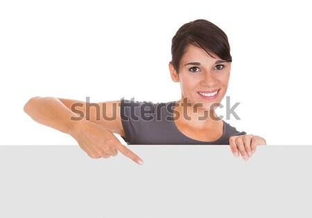 Kadın fatura tahta mutlu boş Stok fotoğraf © AndreyPopov