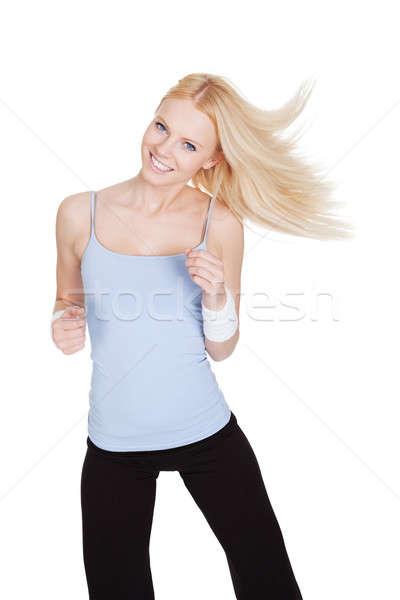 Сток-фото: красивая · женщина · zumba · фитнес · изолированный · белый