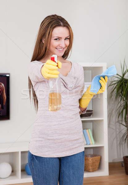 Jeune femme nettoyage maison portrait domestique Photo stock © AndreyPopov